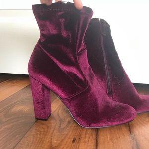 Steve Madden Burgundy Velvet Platform Heels